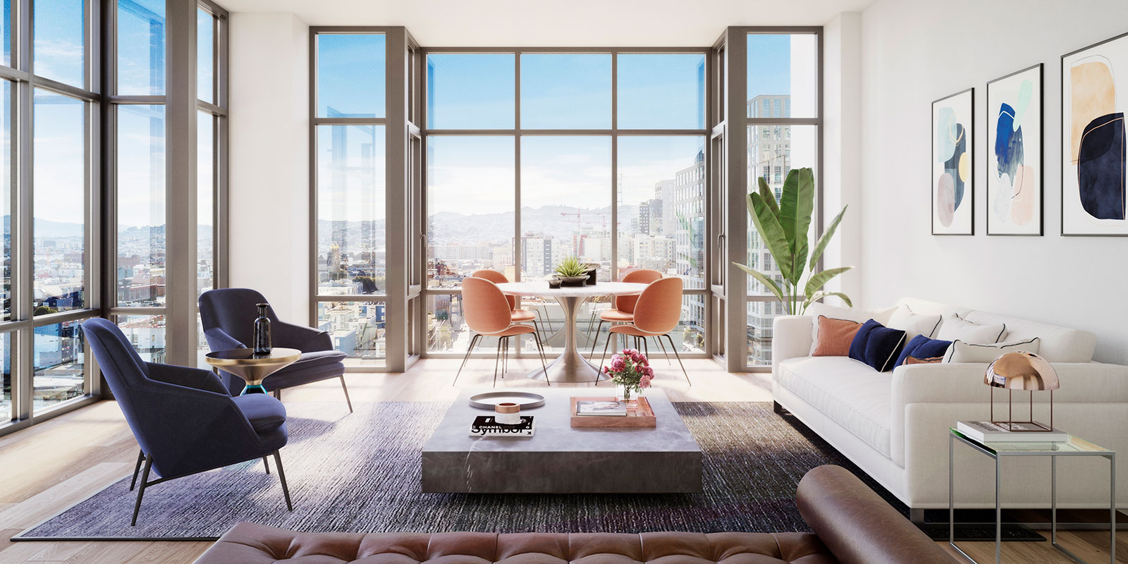One Eleven High Rise Condos Spacious Living Room